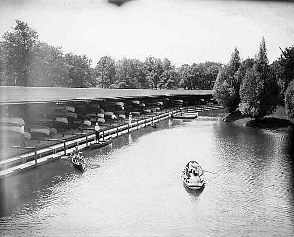 """Lake Phalen canoe docks."" Photographer: Sweet, date: ca. 1905. Minnesota Historical Society Photograph Collection, Location No. GV3.61C"