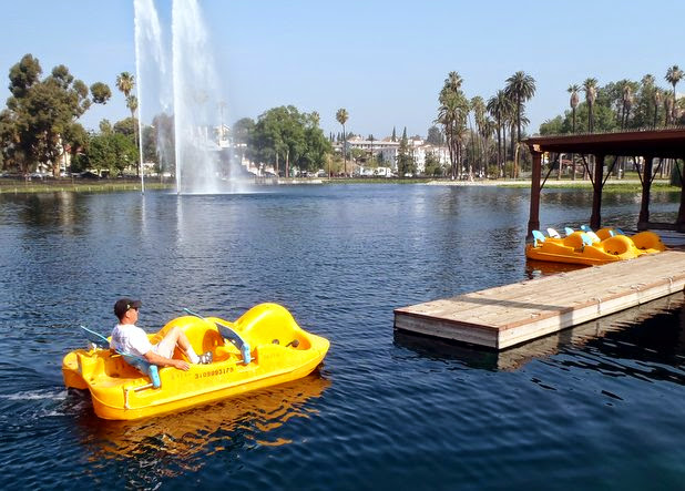 Pedal boats at Echo Park Lake dock. Photo by Darrell Kunitomi from theeastsiderla.com