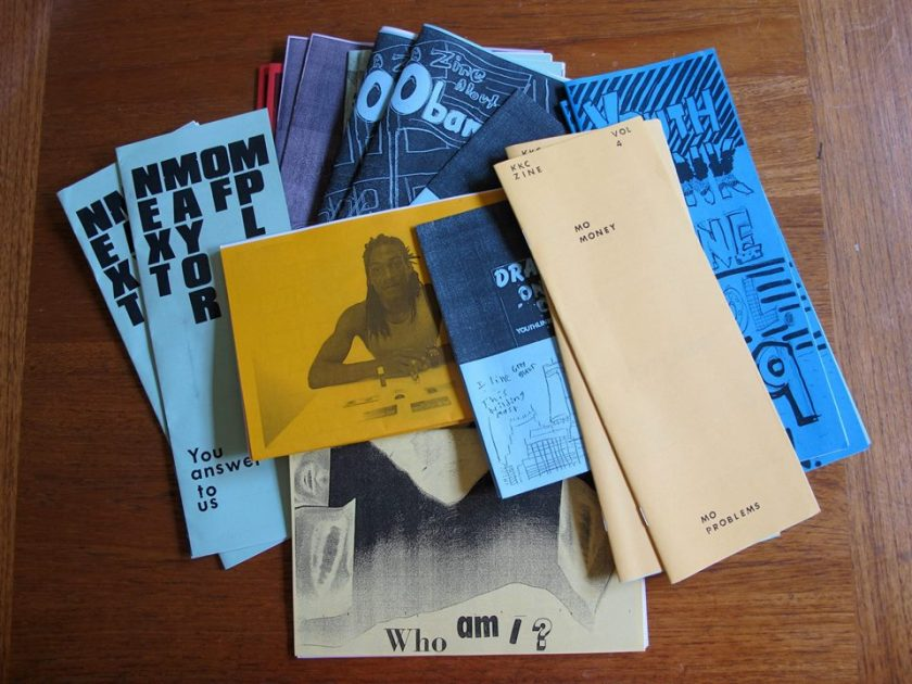 Zines donated to the Floating Library created by youth at Kulture Klub Collaborative.